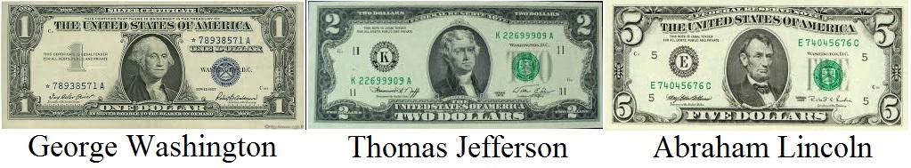 billet_1_dollar_washington_2_thomas_jefferson_5_abraham_lincoln